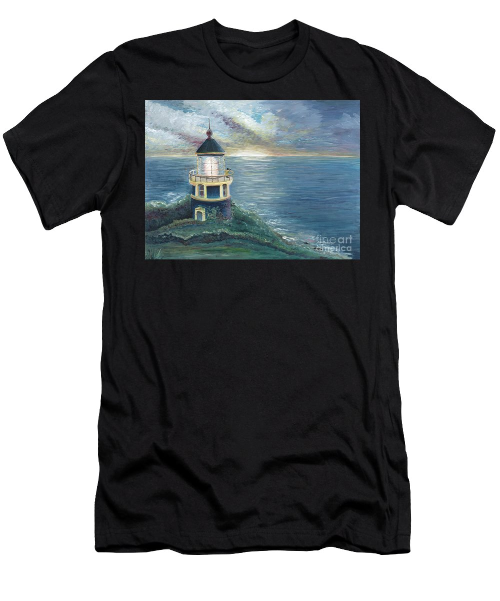Lighthouse Men's T-Shirt (Athletic Fit) featuring the painting The Lighthouse by Nadine Rippelmeyer