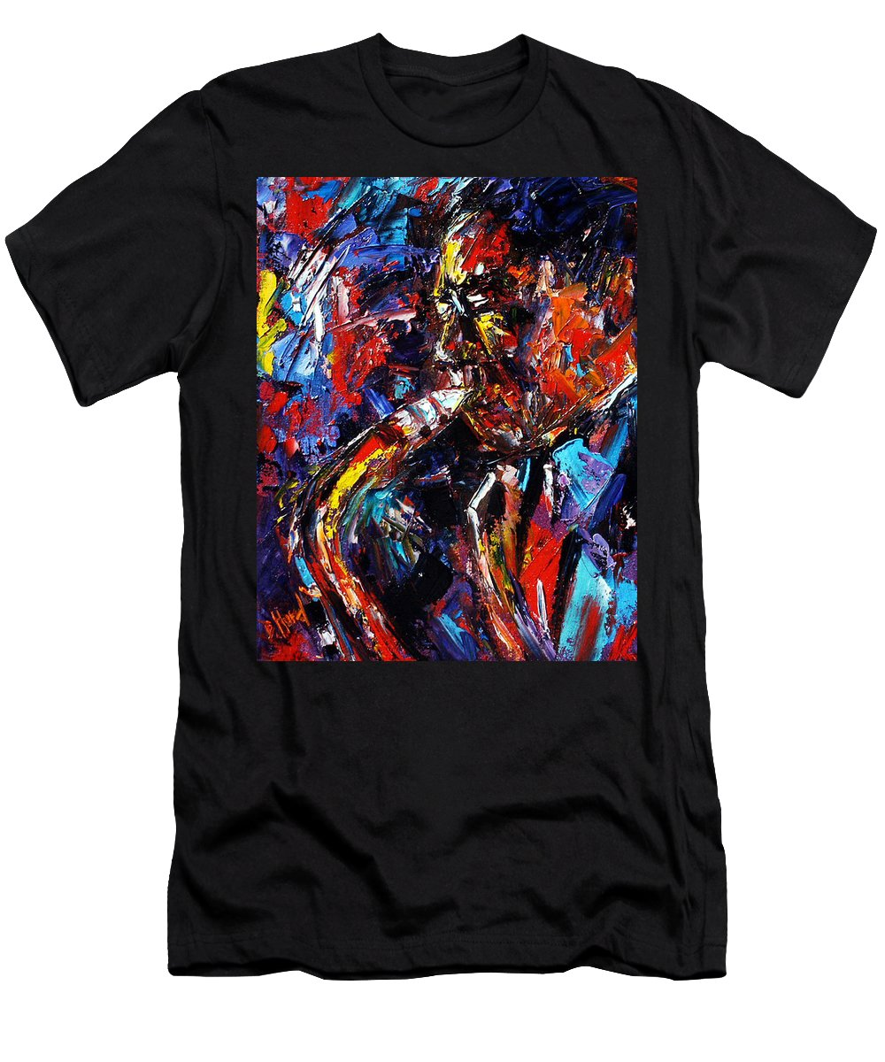 Jazz Men's T-Shirt (Athletic Fit) featuring the painting The Likes Of Bird by Debra Hurd