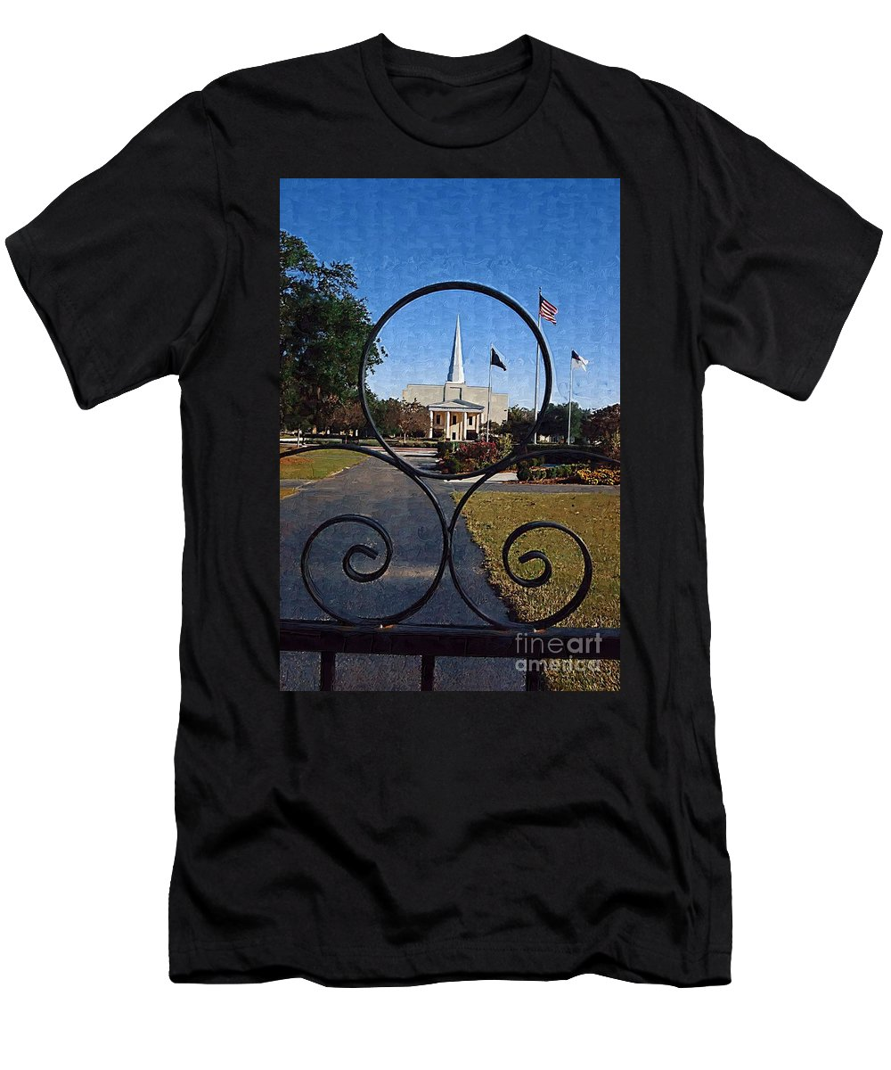 Church Men's T-Shirt (Athletic Fit) featuring the photograph The Little Framed Church by Donna Bentley