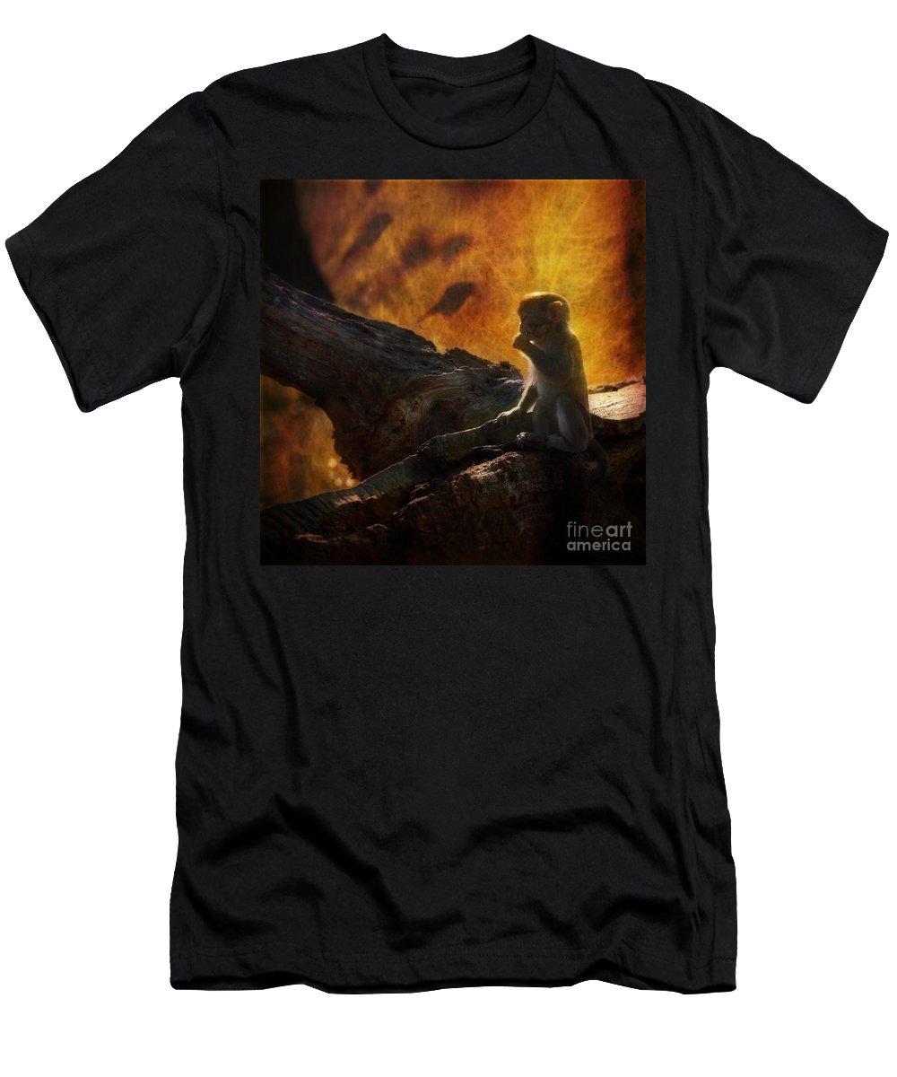 Monkey Men's T-Shirt (Athletic Fit) featuring the photograph The Little Golumn by Angel Ciesniarska
