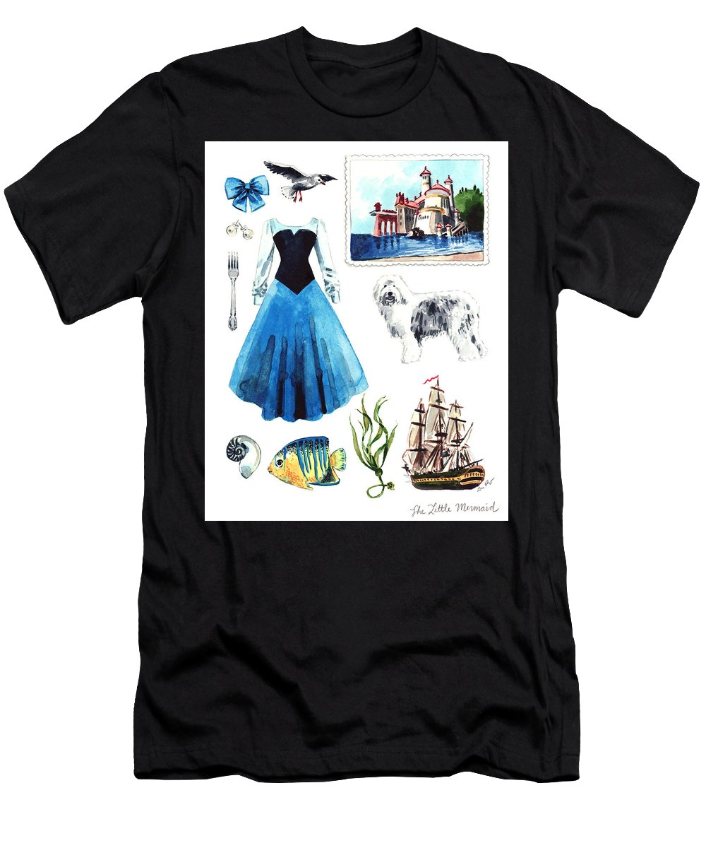 63d92ccc45181a Little Mermaid Men's T-Shirt (Athletic Fit) featuring the painting The  Little Mermaid