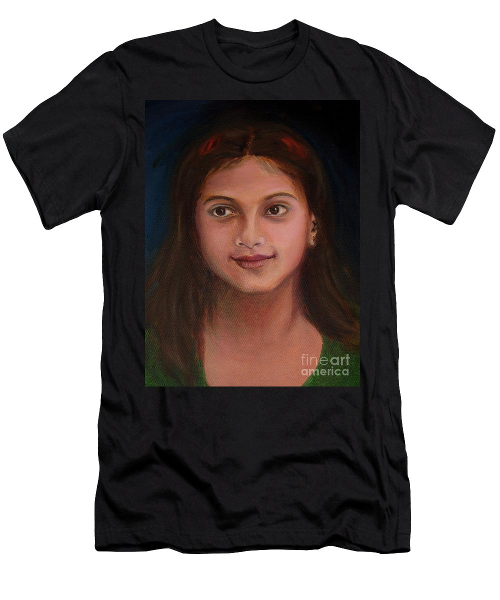Little Indian Girl Men's T-Shirt (Athletic Fit) featuring the painting The Little Neighbour by Asha Sudhaker Shenoy