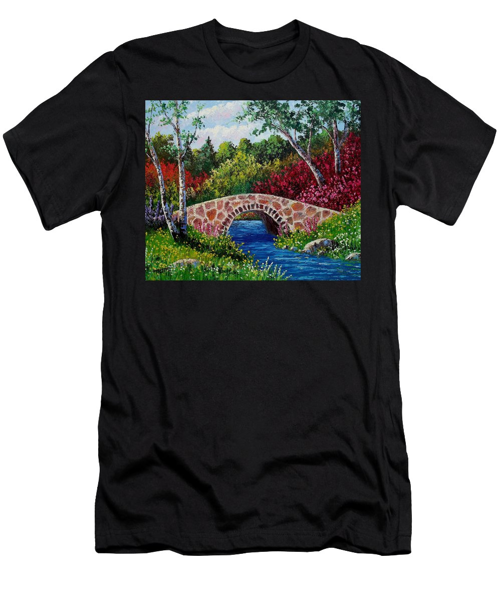 Landscape Men's T-Shirt (Athletic Fit) featuring the painting The Little Stone Bridge by David G Paul