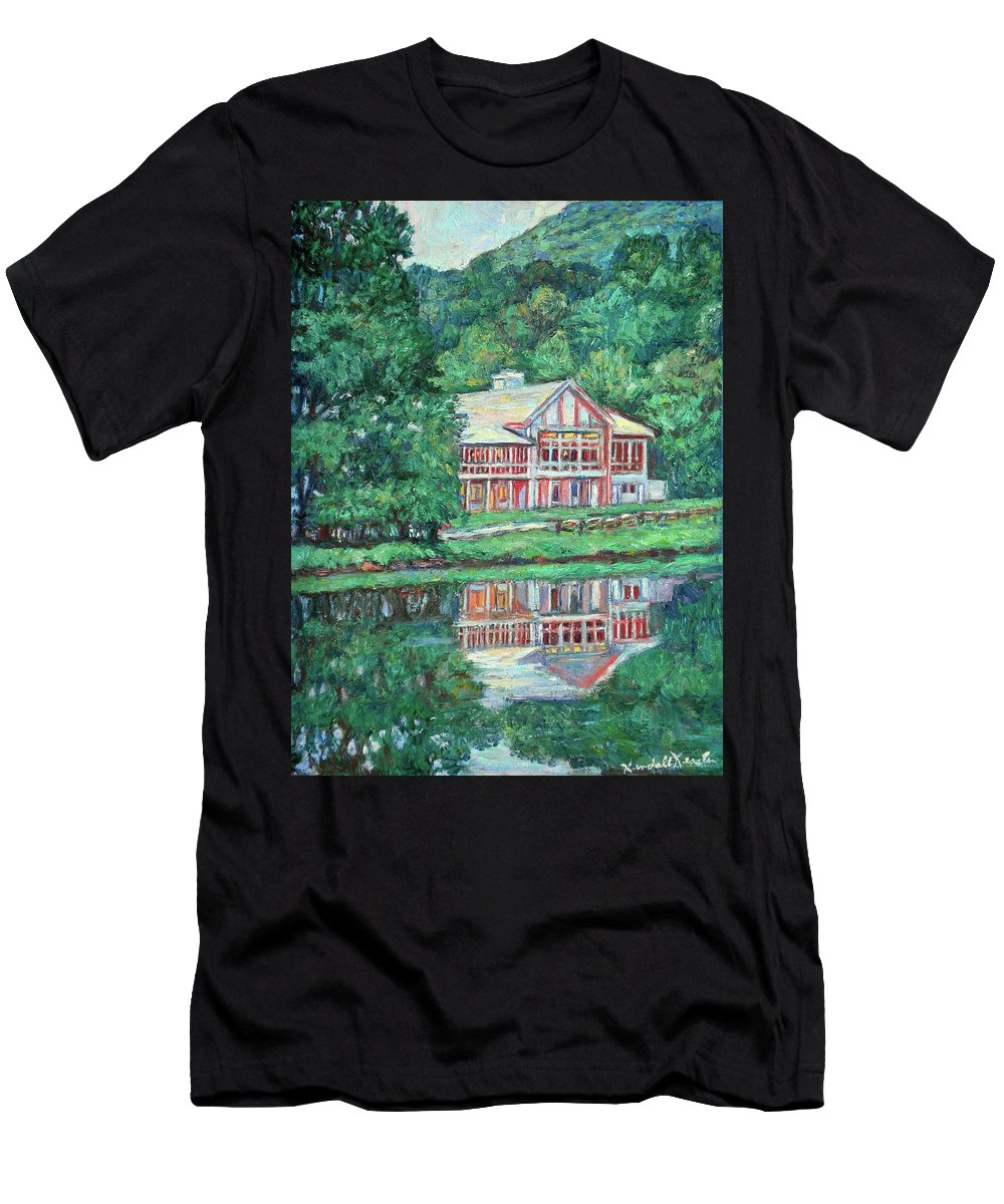 Lodge Paintings Men's T-Shirt (Athletic Fit) featuring the painting The Lodge At Peaks Of Otter by Kendall Kessler