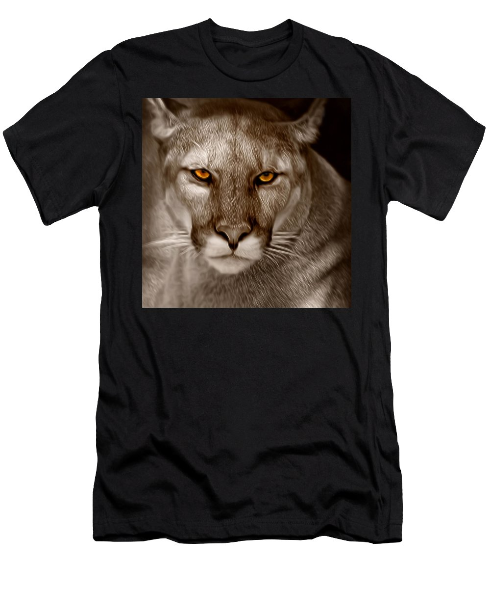 Florida Men's T-Shirt (Athletic Fit) featuring the photograph The Look - Florida Panther by Mitch Spence
