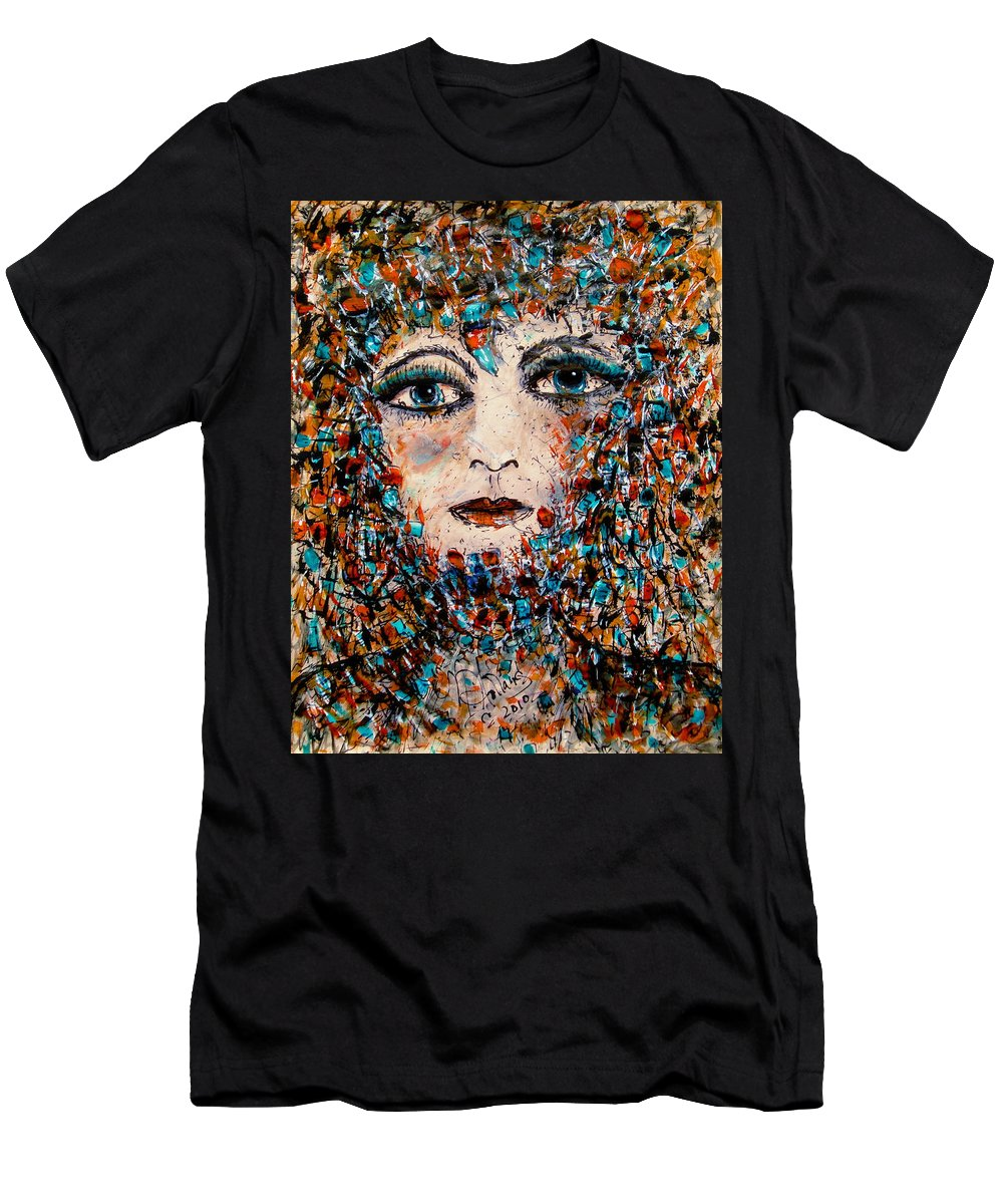 Mixed Medium Men's T-Shirt (Athletic Fit) featuring the painting The Look by Natalie Holland