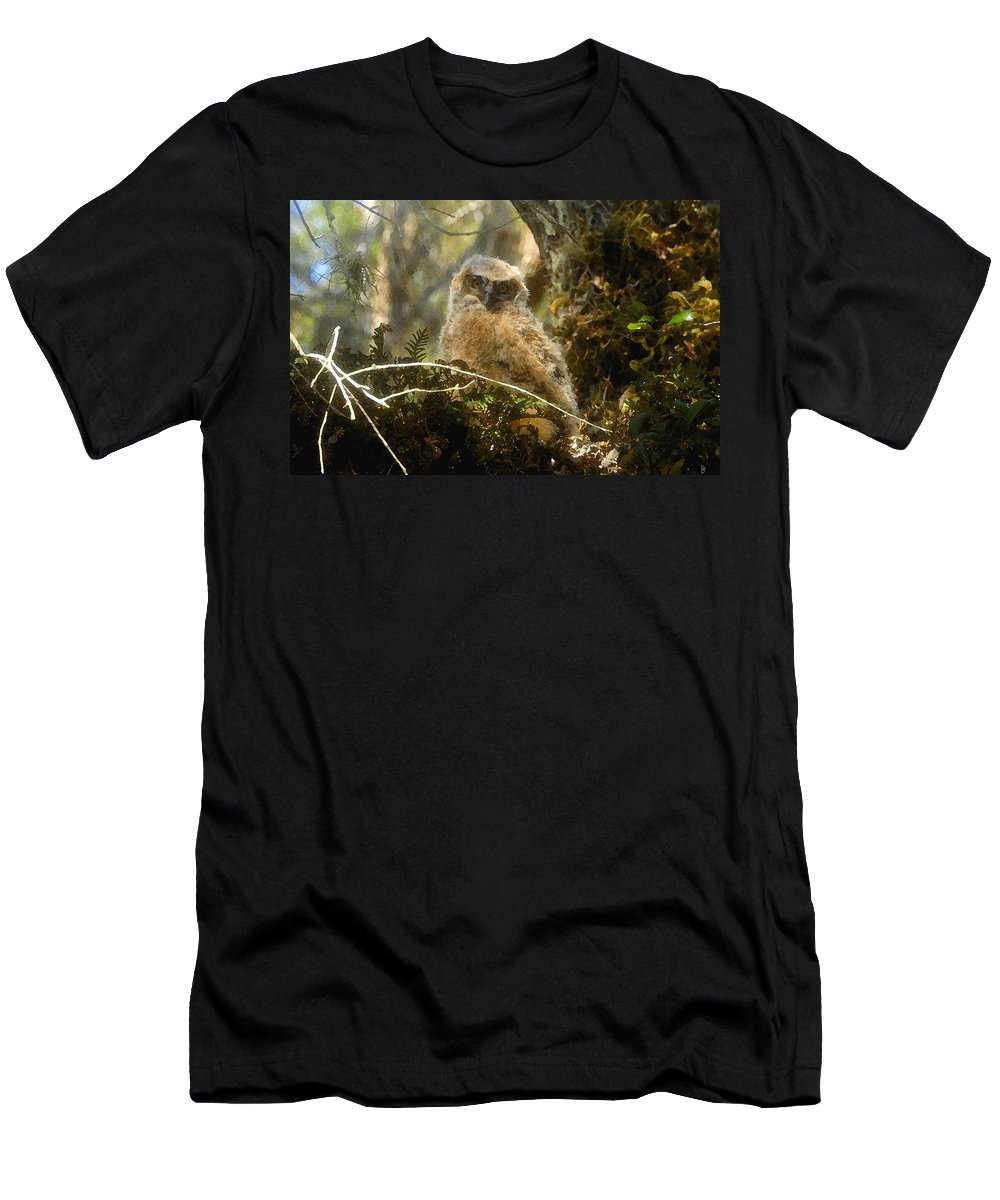 Baby Owl T-Shirt featuring the painting The look of innocence by David Lee Thompson