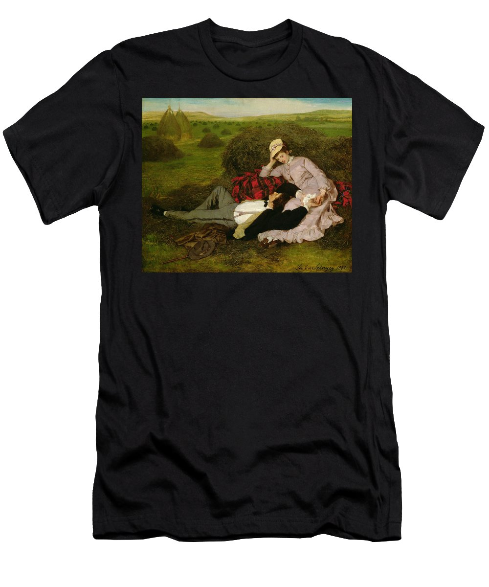 The Lovers Men's T-Shirt (Athletic Fit) featuring the painting The Lovers by Pal Szinyei Merse