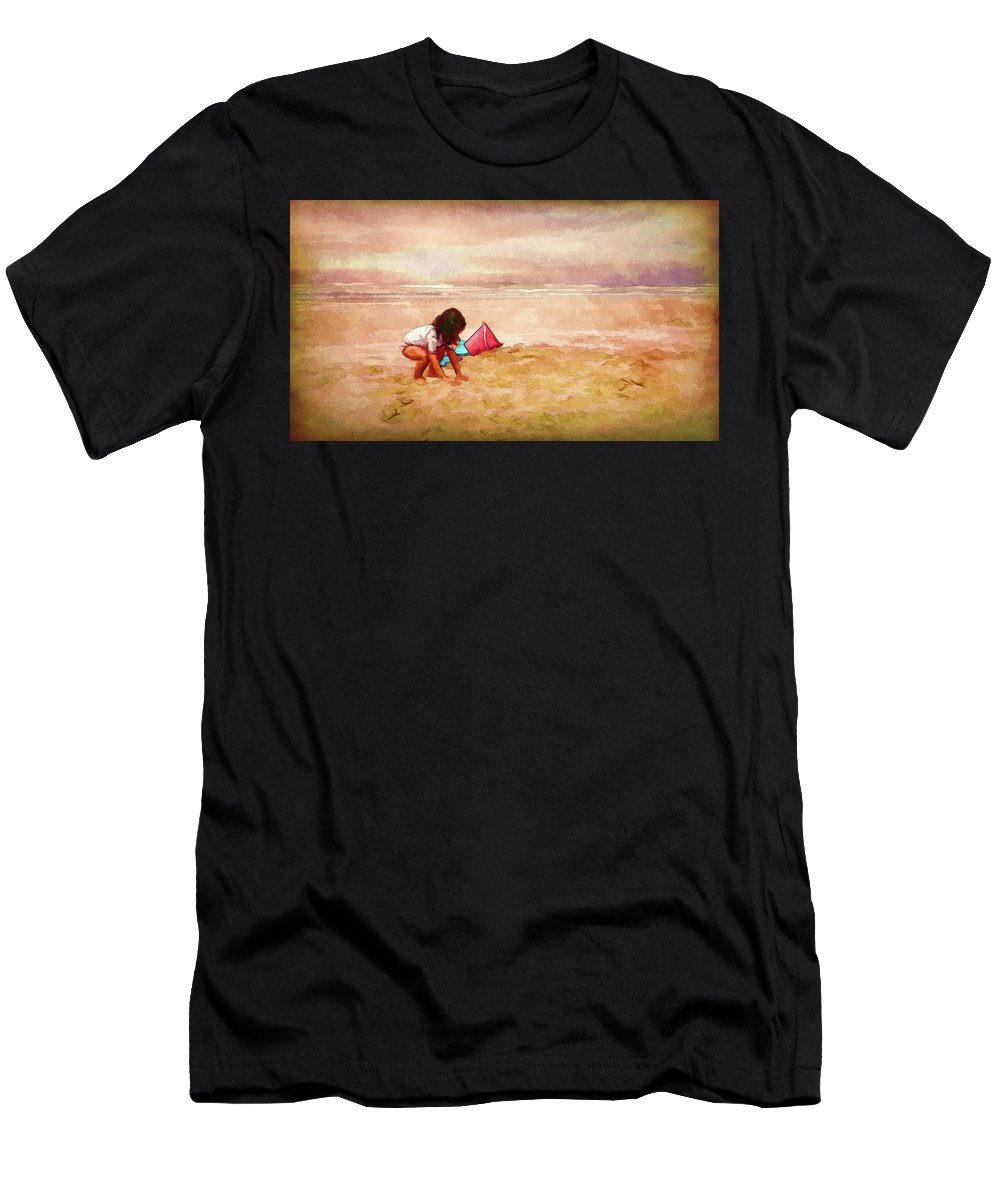 Little Girl On The Beach Men's T-Shirt (Athletic Fit) featuring the digital art The Magic Of Sand by Debbie Smith