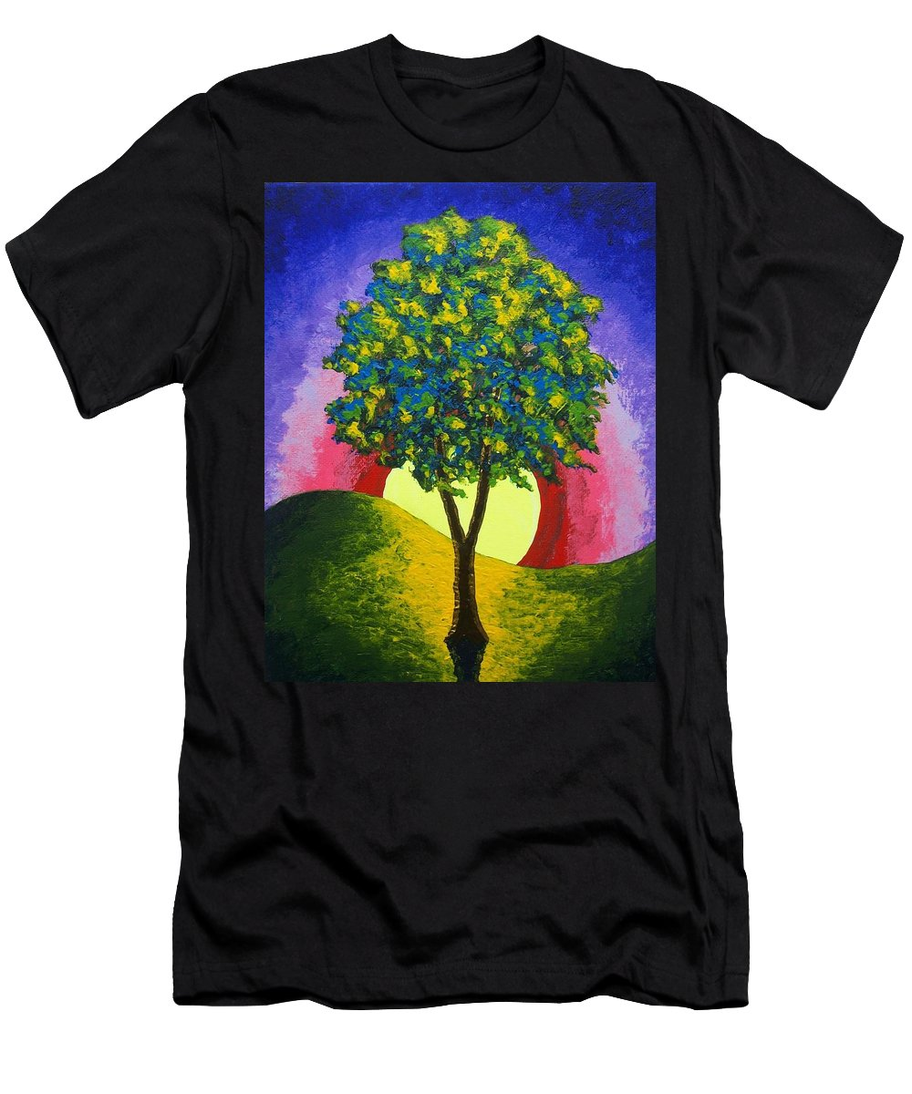 Art & Collectibles Painting Acrylic Red Yellow Green Blue Pink Purple Nature Landscape Strength Horticulture Syrup Wood Whiskey Agriculture Beautiful Colorful Men's T-Shirt (Athletic Fit) featuring the painting The Maple Tree by Mike Kraus