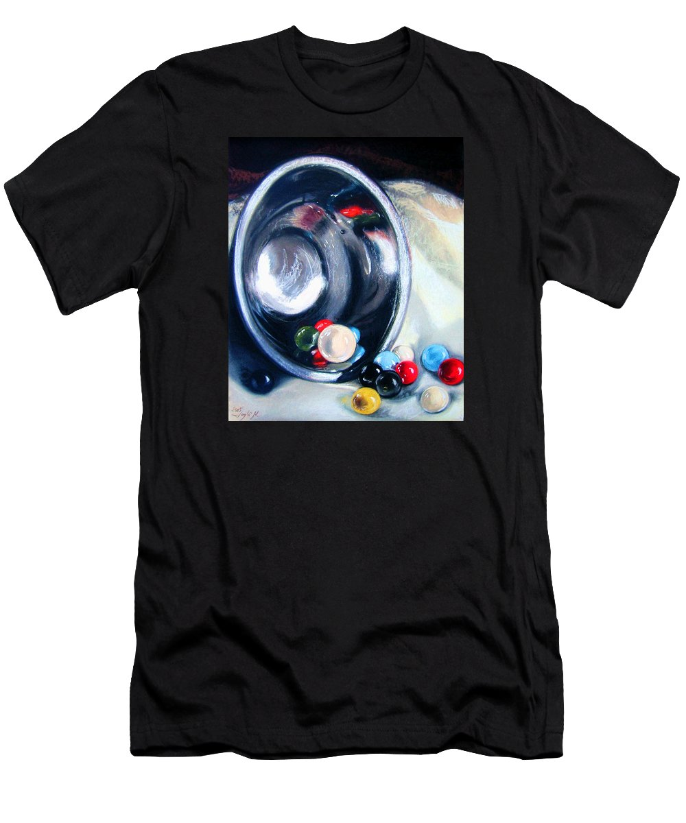 Marbles Men's T-Shirt (Athletic Fit) featuring the pastel The Marble Bowl by Leyla Munteanu