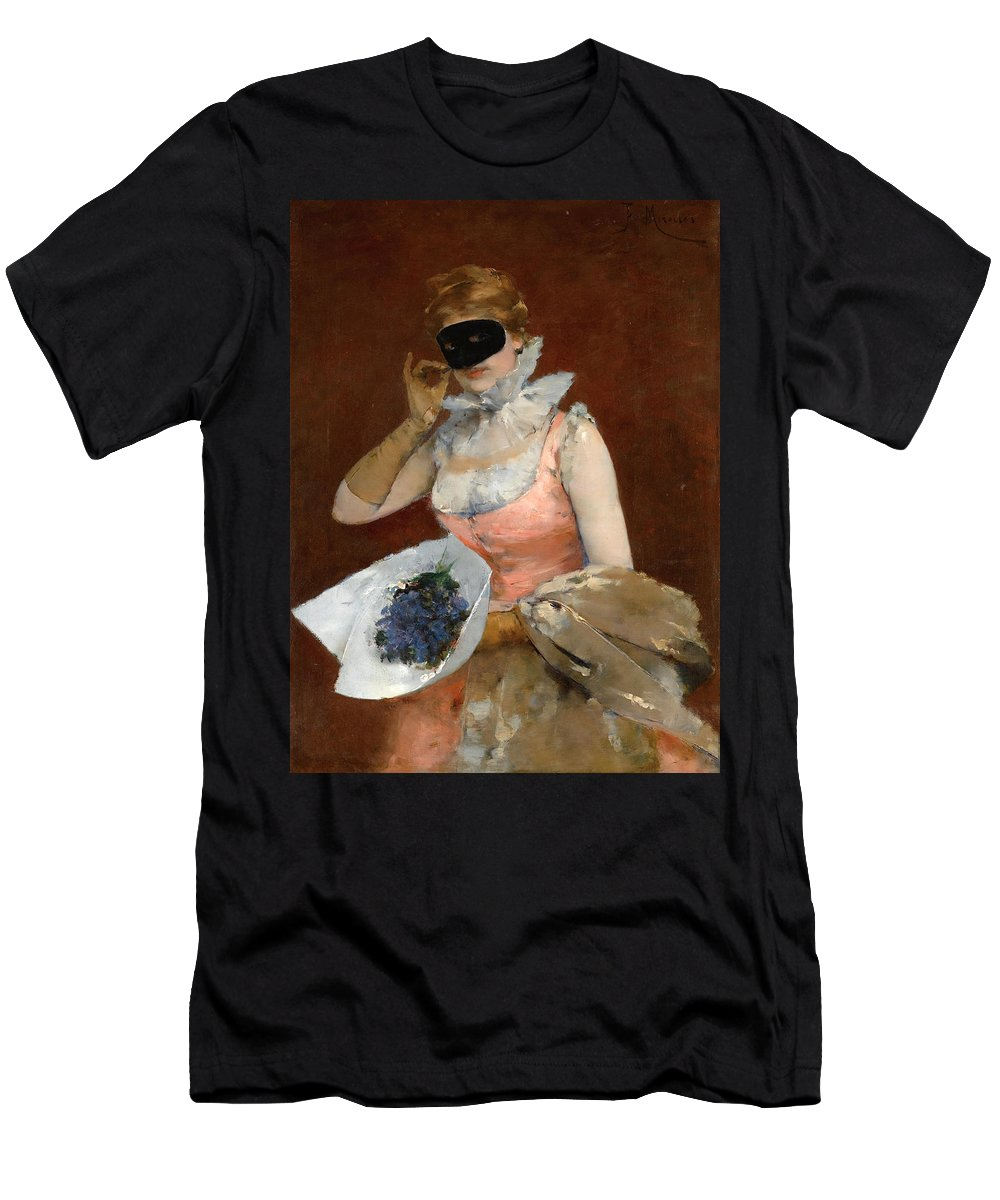 Francisco Miralles Men's T-Shirt (Athletic Fit) featuring the painting The Masque by Francisco Miralles