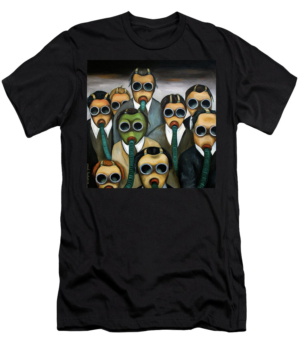 Mask Men's T-Shirt (Athletic Fit) featuring the painting The Meeting by Leah Saulnier The Painting Maniac