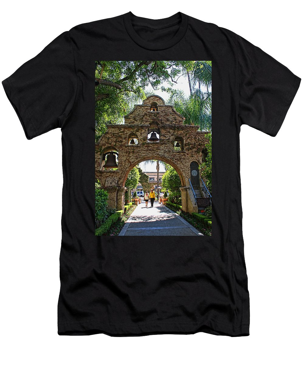 Mission Inn Men's T-Shirt (Athletic Fit) featuring the photograph The Mission Inn Entrance by Tommy Anderson