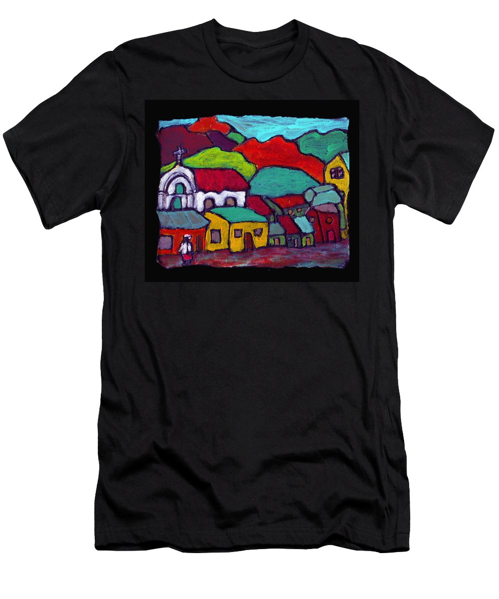 Village Men's T-Shirt (Athletic Fit) featuring the painting The Mission by Wayne Potrafka