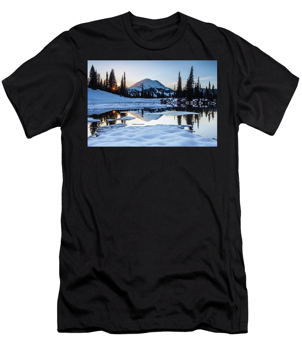 National Parks Men's T-Shirt (Athletic Fit) featuring the photograph The Mountain Is Calling by Larry Waldon