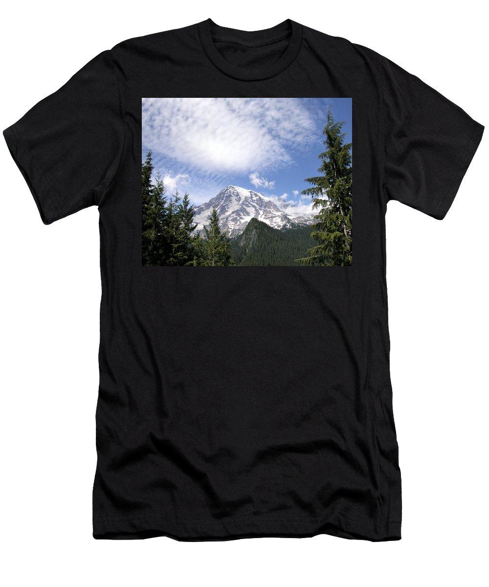 Mountain Men's T-Shirt (Athletic Fit) featuring the photograph The Mountain Mt Rainier Washington by Michael Bessler