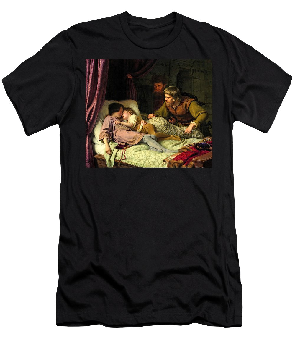 German Art Men's T-Shirt (Athletic Fit) featuring the painting The Murder Of The Sons Of Edward Iv by Theodor Hildebrandt