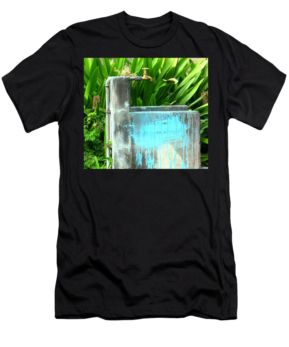 Water Men's T-Shirt (Athletic Fit) featuring the photograph The Neighborhood Water Pipe by Ian MacDonald