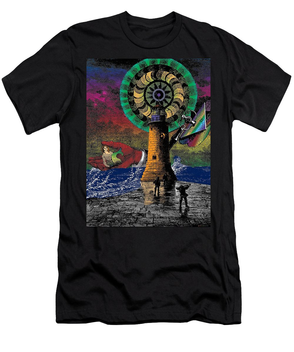 Lighthouse Men's T-Shirt (Athletic Fit) featuring the digital art The New Pharos by Eric Edelman