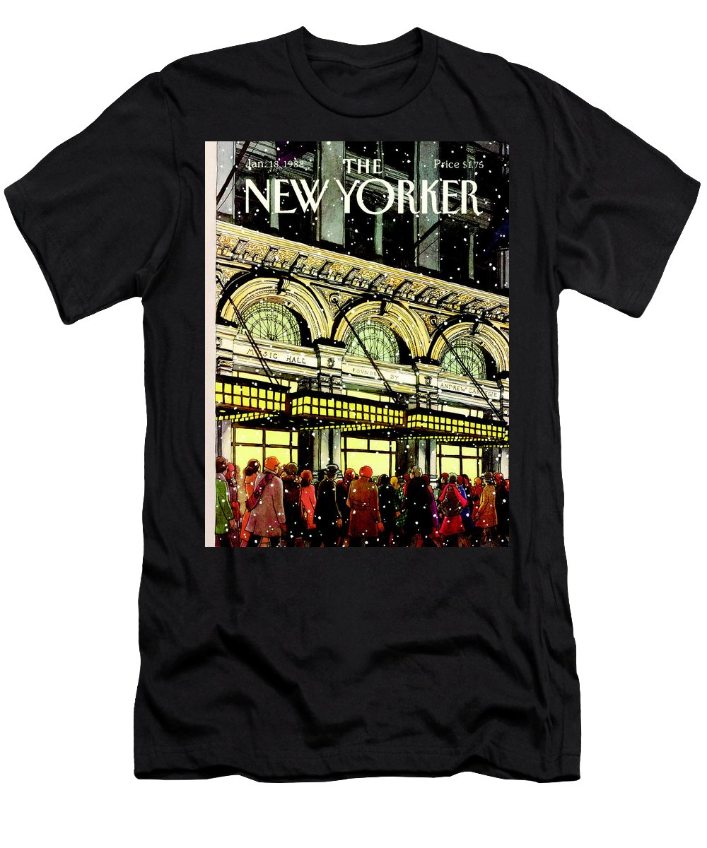 Urban Men's T-Shirt (Athletic Fit) featuring the painting The New Yorker Cover - January 18th, 1988 by Roxie Munro
