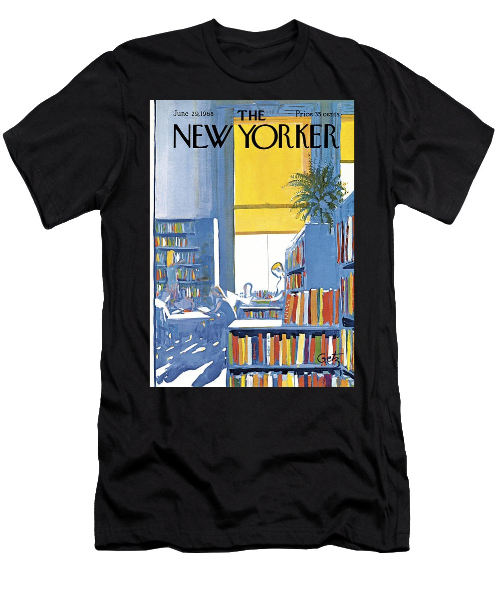 Books Men's T-Shirt (Athletic Fit) featuring the painting New Yorker June 29th 1968 by Arthur Getz