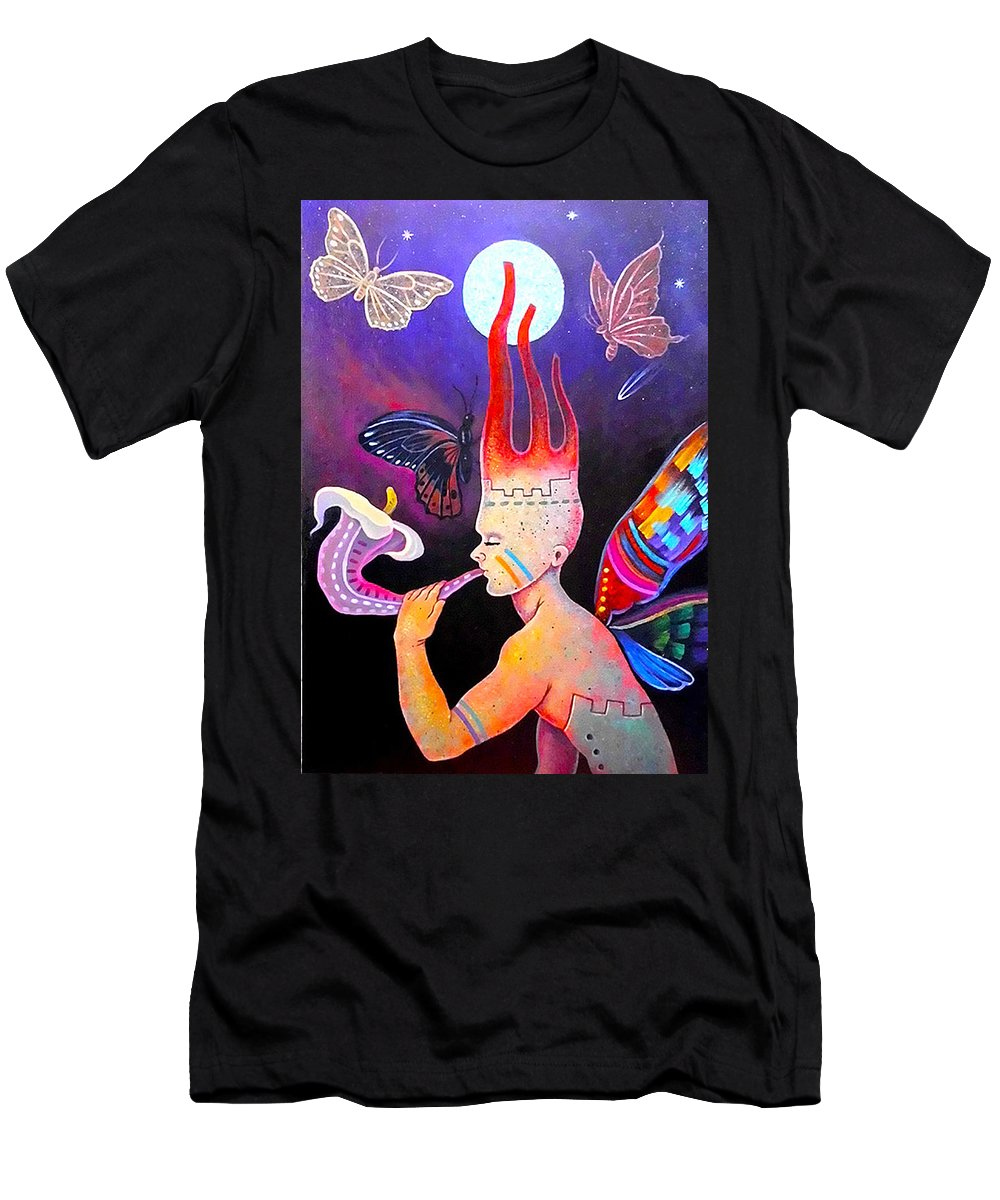 Alan Kent Men's T-Shirt (Athletic Fit) featuring the painting The Night Of The Flies by Alan Kent Chavez Chavez
