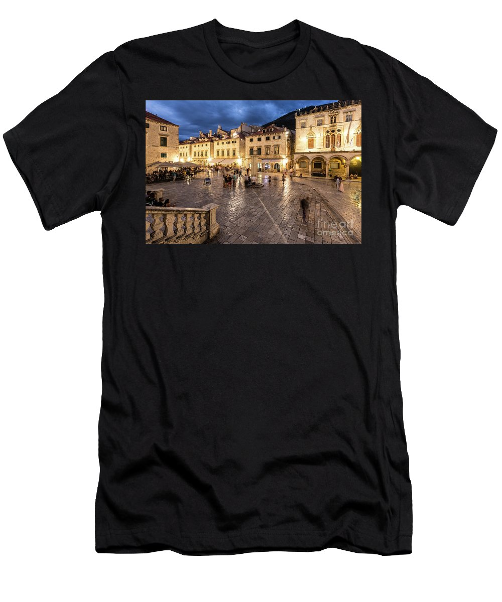 Ancient Men's T-Shirt (Athletic Fit) featuring the photograph The Nights Of Dubrovnik by Didier Marti