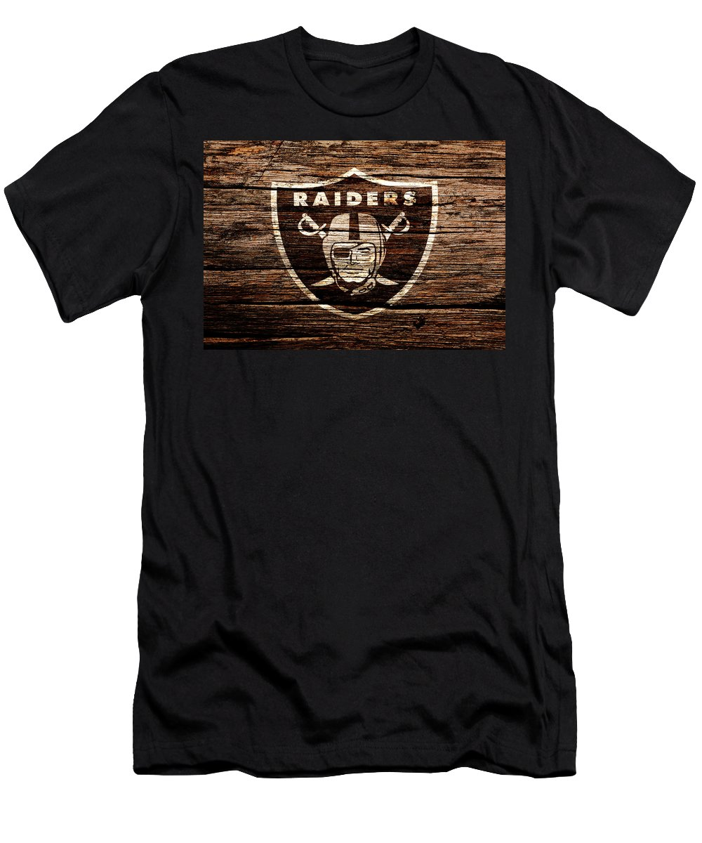 Oakland Raiders Men's T-Shirt (Athletic Fit) featuring the mixed media The Oakland Raiders 1e by Brian Reaves