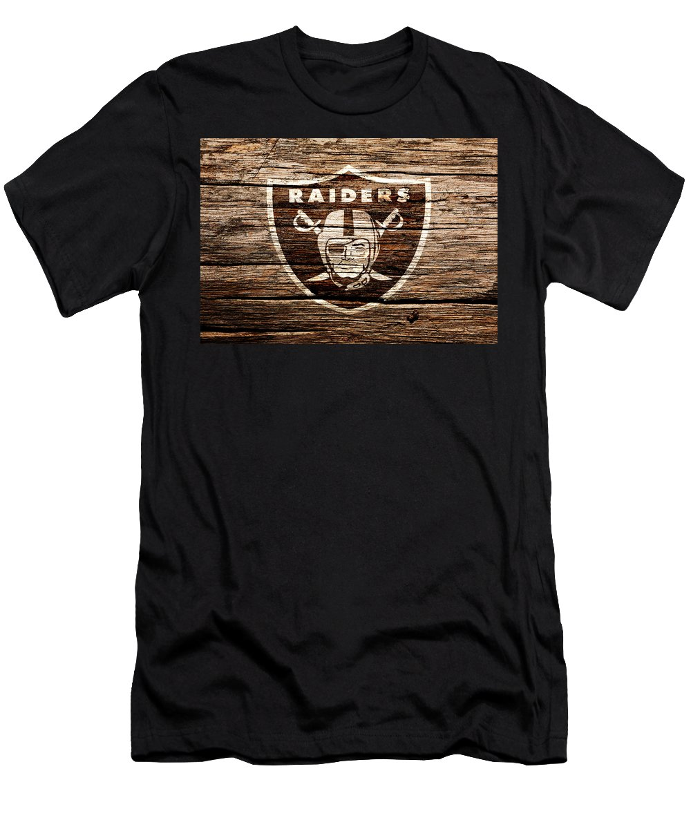 Oakland Raiders Men's T-Shirt (Athletic Fit) featuring the mixed media The Oakland Raiders 1f by Brian Reaves