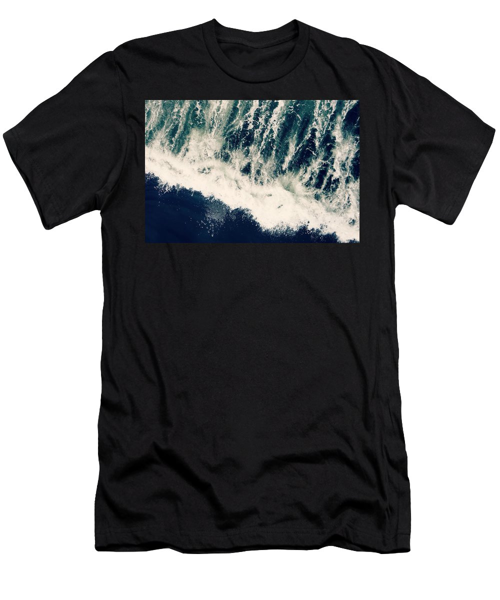 Ocean Men's T-Shirt (Athletic Fit) featuring the photograph The Ocean Roars by Robin Dickinson