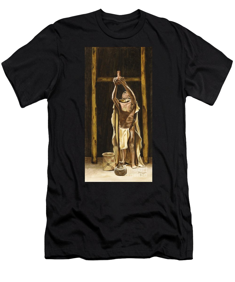 Sepia Men's T-Shirt (Athletic Fit) featuring the painting The Offering by Mary Rogers