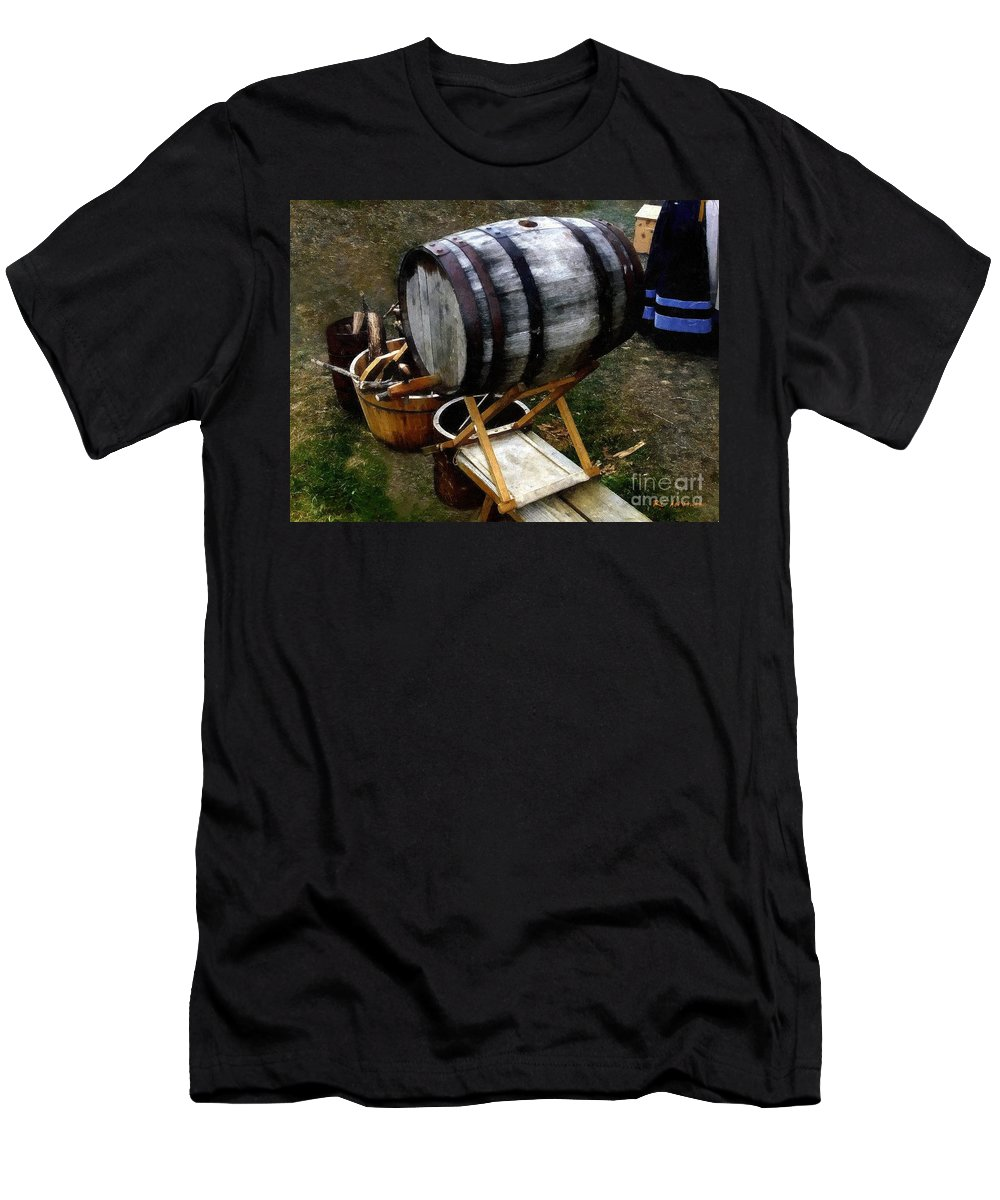 Antique Men's T-Shirt (Athletic Fit) featuring the painting The Old Beer Barrel by RC DeWinter