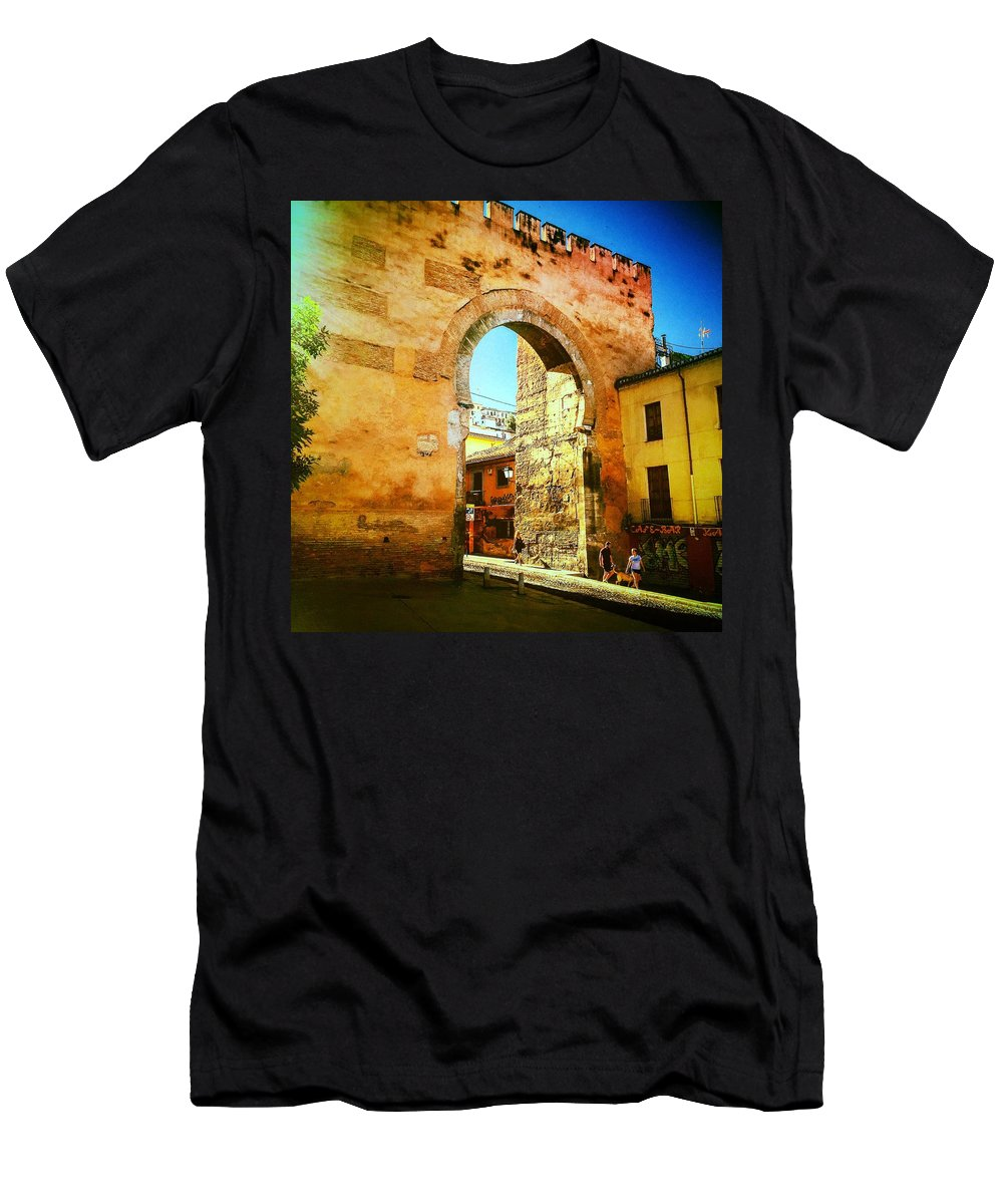Spain Men's T-Shirt (Athletic Fit) featuring the photograph The Old Gate by Alex Favela