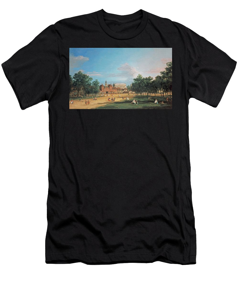 London The Old Horse Guards And The Banqueting Hall By Canaletto Men's T-Shirt (Athletic Fit) featuring the painting The Old Horse Guards by Canaletto