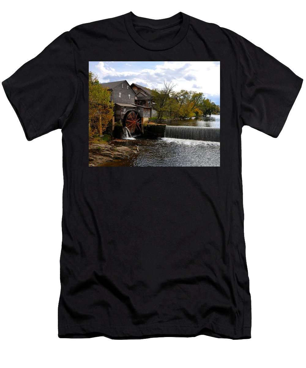 Smokey Mountain Men's T-Shirt (Athletic Fit) featuring the photograph The Old Mill by Brittany Horton