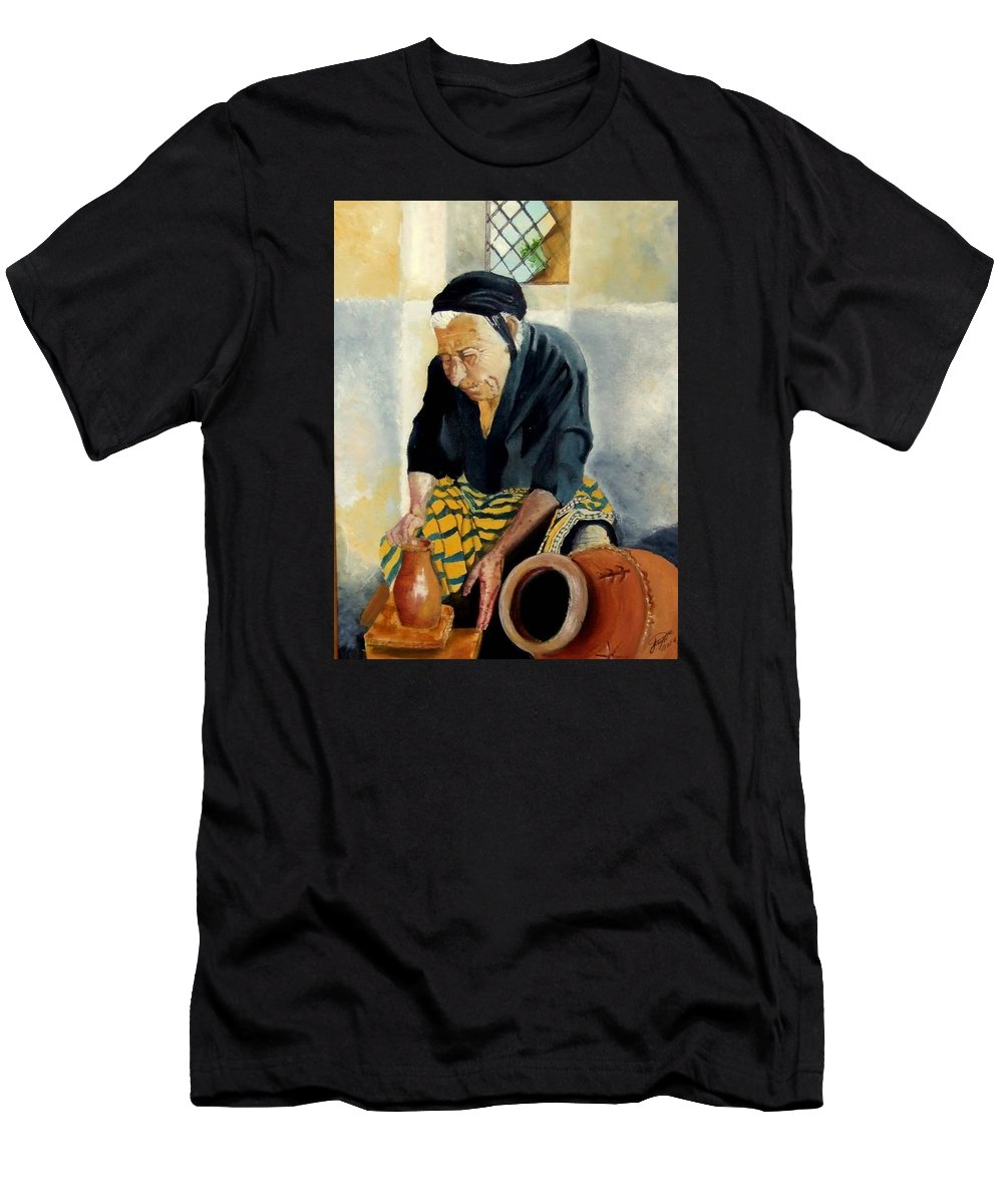 Old People Men's T-Shirt (Athletic Fit) featuring the painting The Old Potter by Jane Simpson