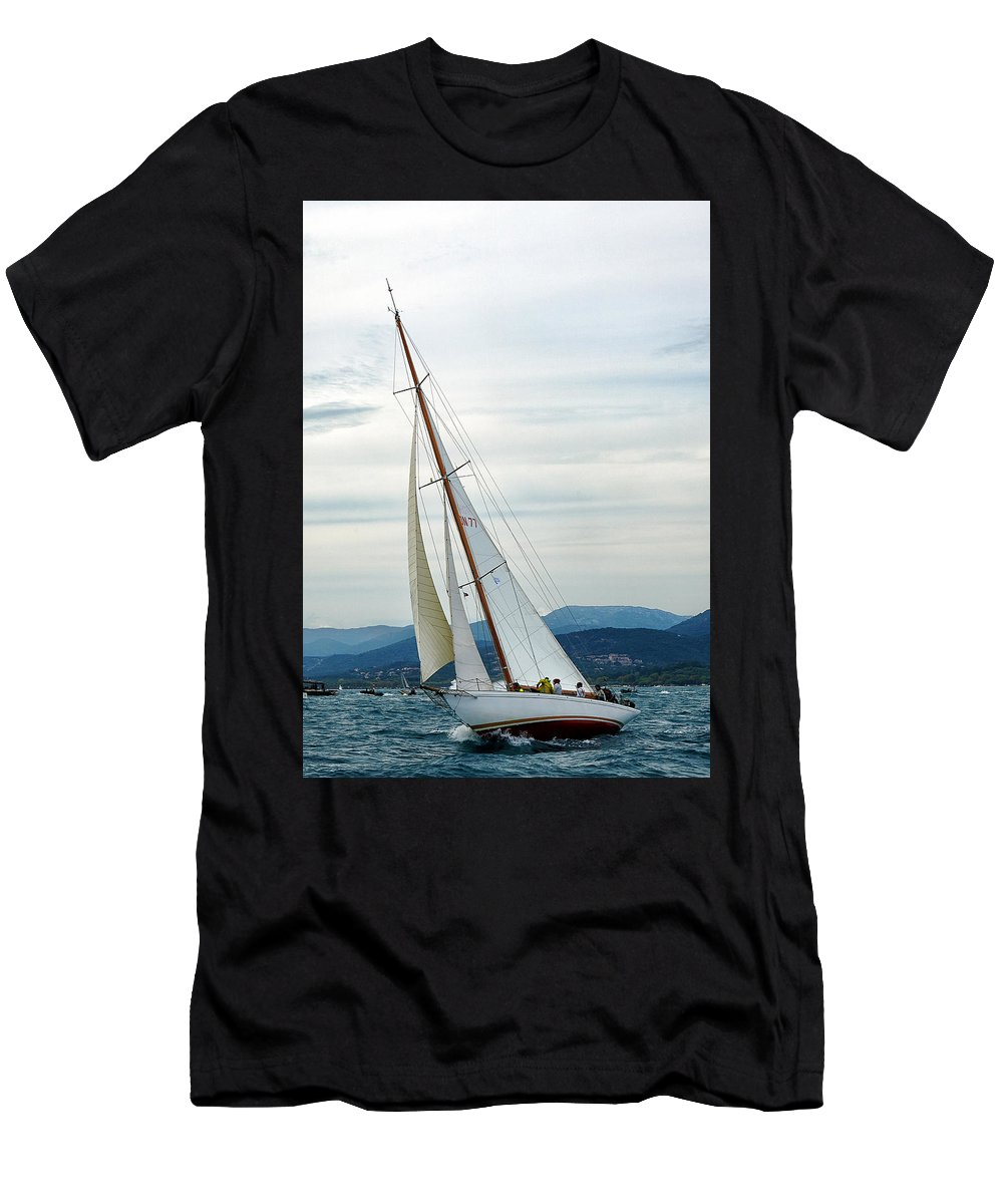 Sergey Pro Men's T-Shirt (Athletic Fit) featuring the photograph The Old Sailing Yacht At Competitions In The Gulf Of Saint Trope by Sergey Pro