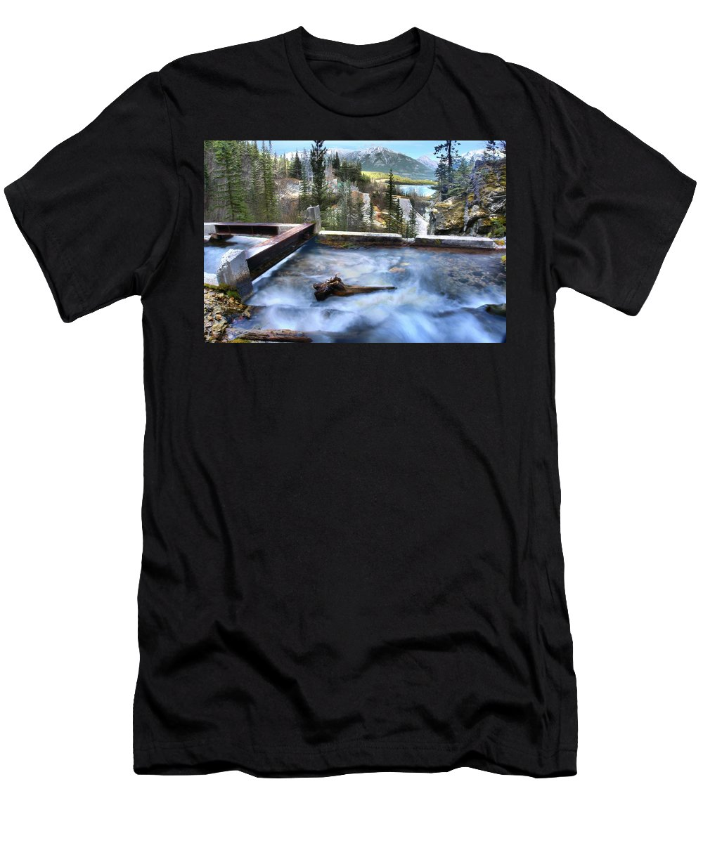 Spray Lake Falls Men's T-Shirt (Athletic Fit) featuring the photograph The Old Penstock Platform? by Ken McMullen