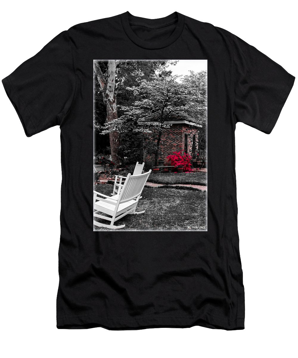 Smokehouse Men's T-Shirt (Athletic Fit) featuring the photograph Smokehouse Red by Rachel Narvaez