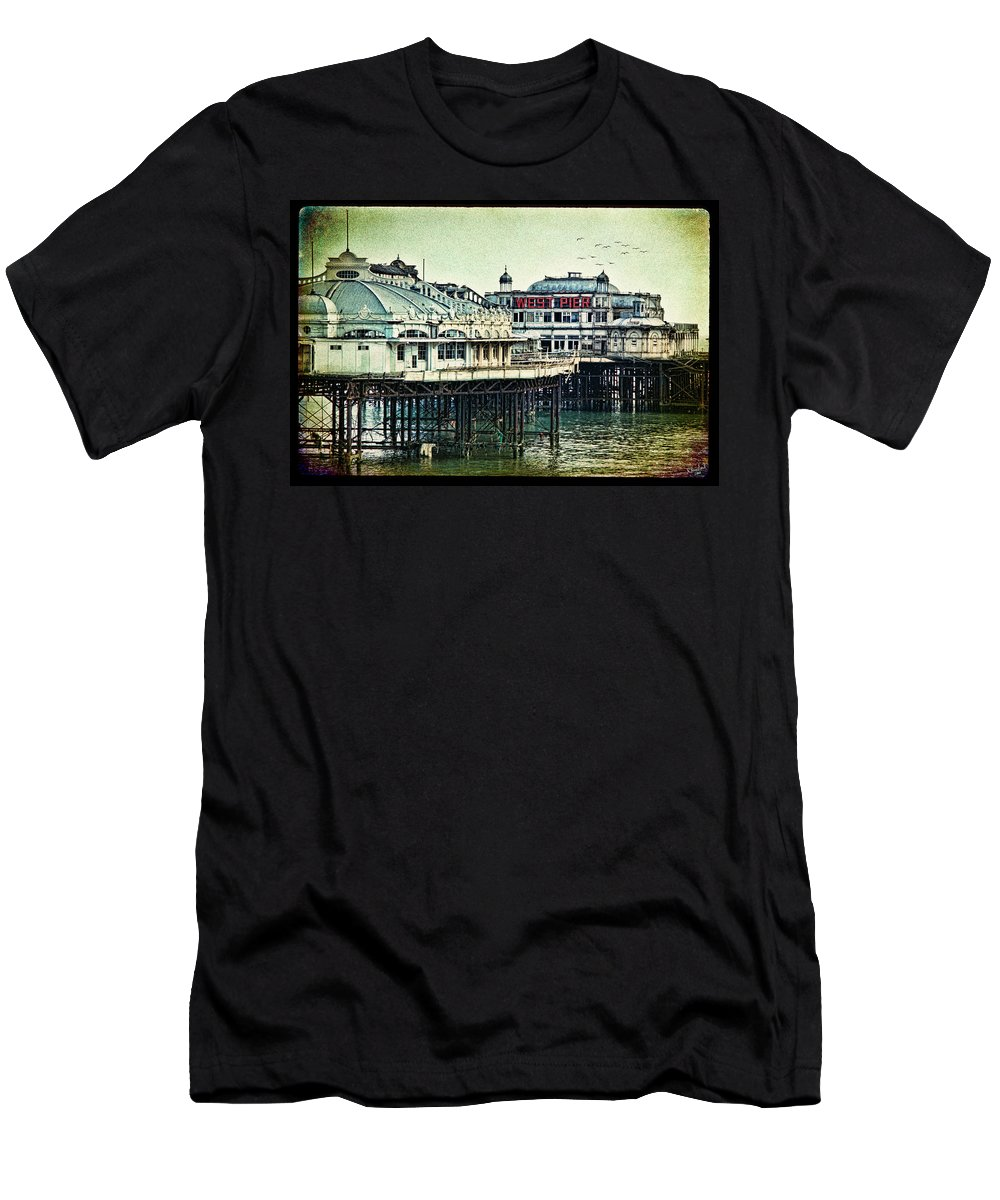 Brighton Men's T-Shirt (Athletic Fit) featuring the photograph The Old Victorian West Pier by Chris Lord