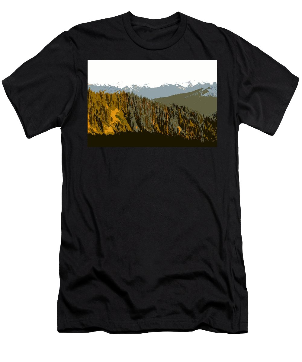 Olympic Mountains Men's T-Shirt (Athletic Fit) featuring the painting The Olympic Mountains by David Lee Thompson