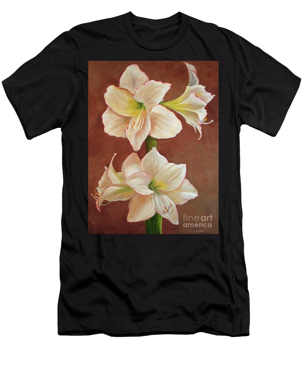 Flower Men's T-Shirt (Athletic Fit) featuring the painting The Opening Flower by Carolyn Shireman