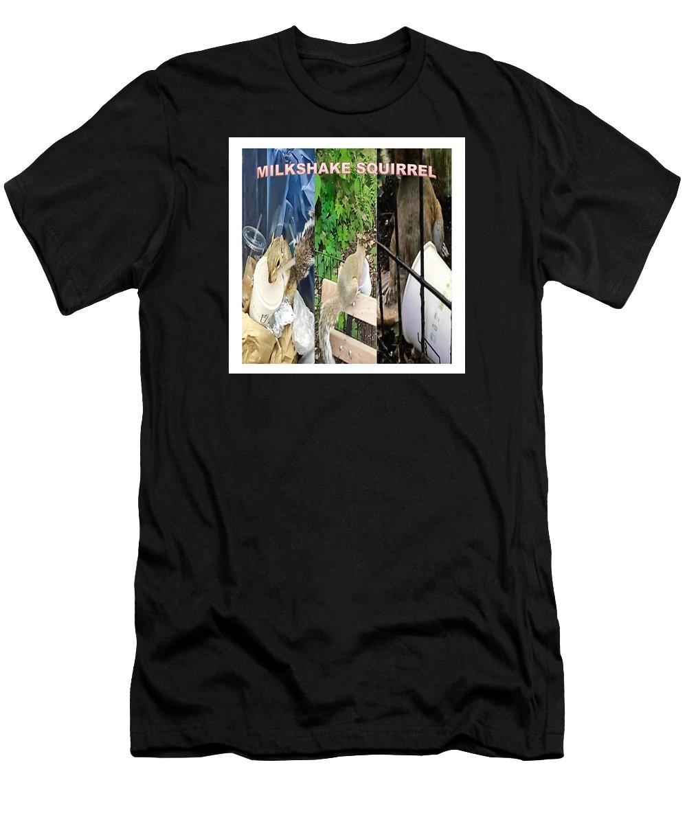 Milkshake Squirrel Men's T-Shirt (Athletic Fit) featuring the digital art The Original Official Milkshake Squirrel by Ronald Savage