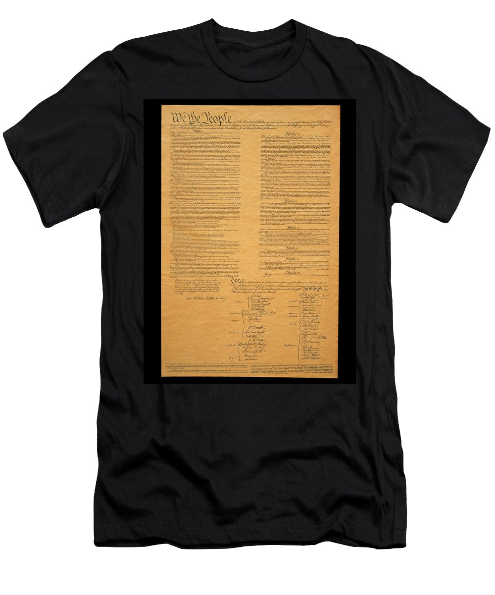 Photography Men's T-Shirt (Athletic Fit) featuring the photograph The Original United States Constitution by Panoramic Images