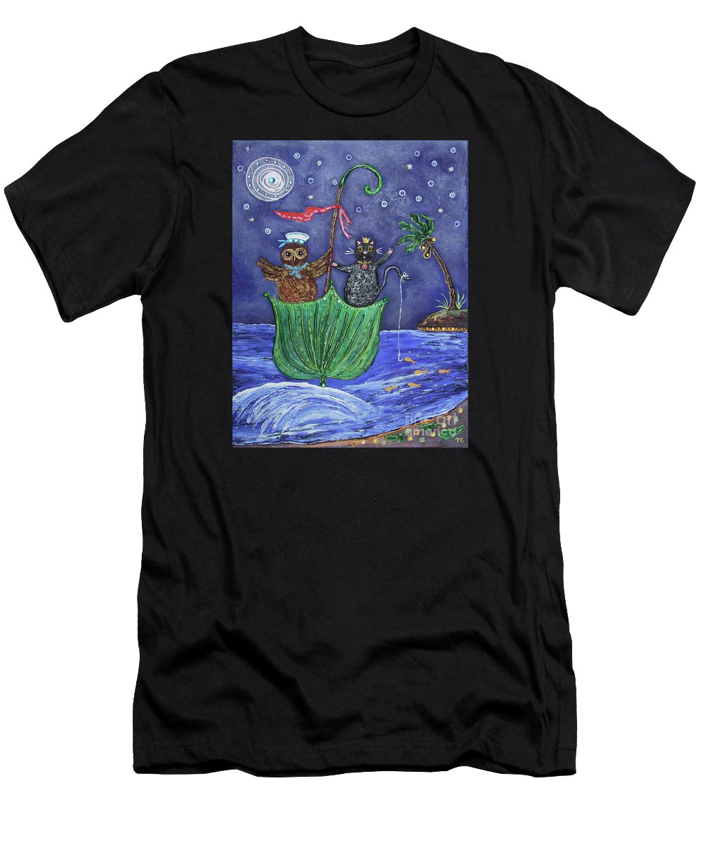 Owl Men's T-Shirt (Athletic Fit) featuring the painting The Owl And The Pussycat by Pietra Castellani