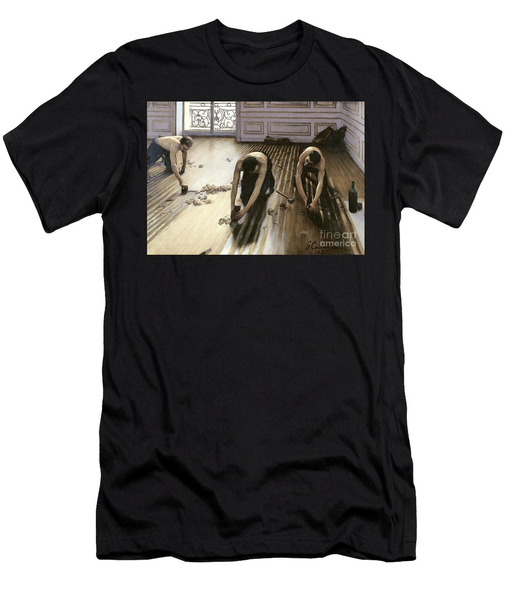 Gustave Caillebotte Men's T-Shirt (Athletic Fit) featuring the painting The Parquet Planers by Gustave Caillebotte