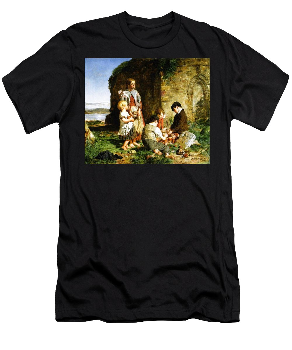 William Mctaggart - The Past And The Present 1860 Men's T-Shirt (Athletic Fit) featuring the painting The Past And The Present by MotionAge Designs