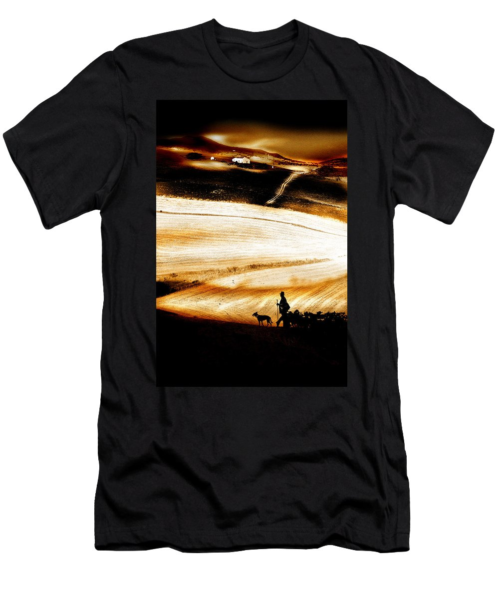 Landscape Men's T-Shirt (Athletic Fit) featuring the photograph The Path Home by Mal Bray