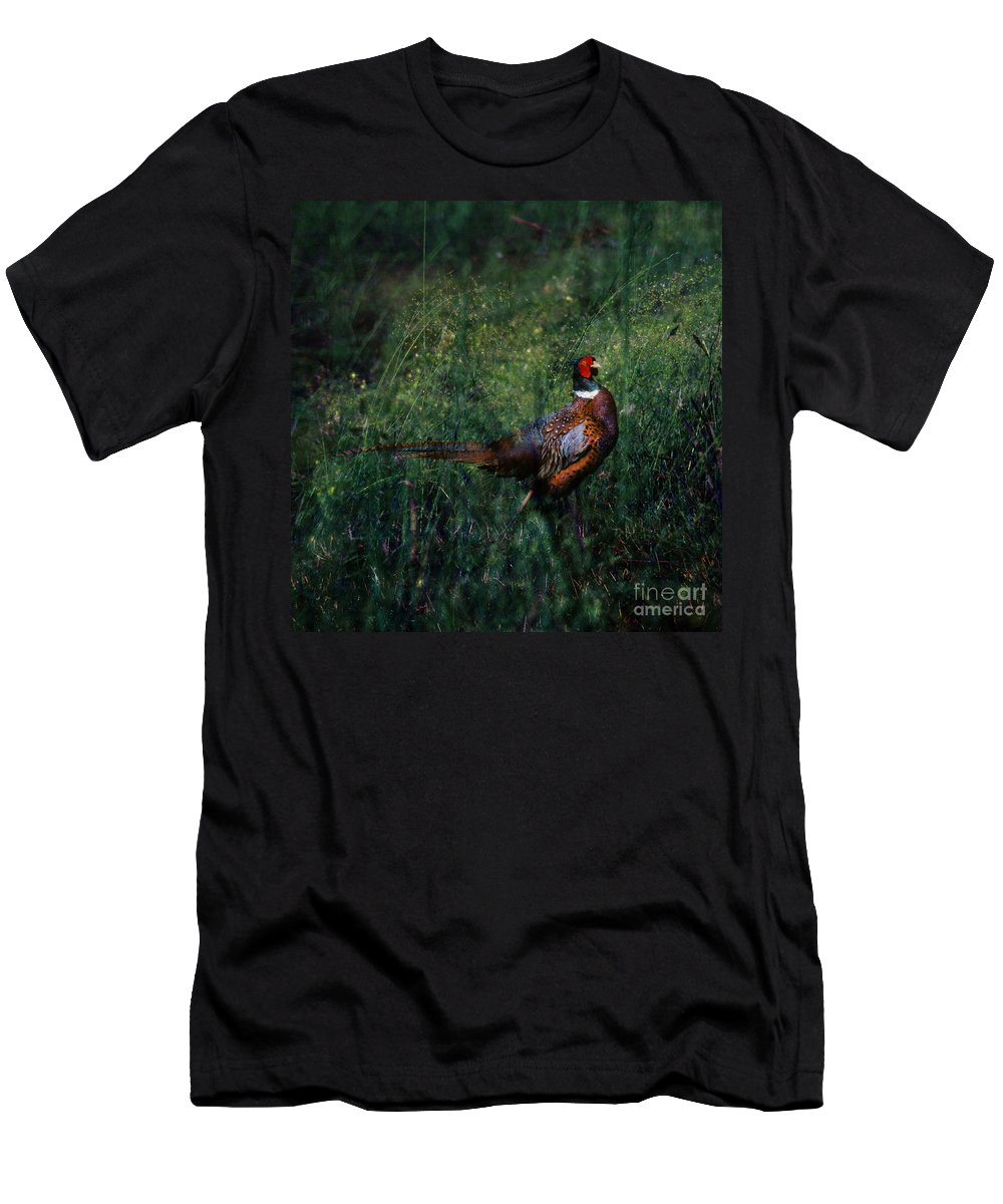 Pheasant Men's T-Shirt (Athletic Fit) featuring the photograph The Pheasant In The Autumn Colors by Angel Ciesniarska